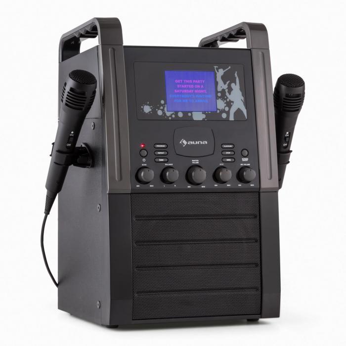 KA8B-V2 BK Karaoké systeme Chaîne karaoké Lecteur CD AUX 2 micros -noir