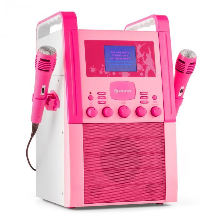 KA8P-V2 PK Equipo de karaoke Reproductor de CD AUX 2 x Micrófono rosa