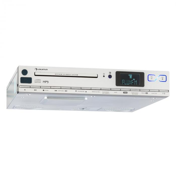 KCD-20 Radio para instalar debajo del mueble de la cocina CD MP3 UKW RDS mando a distancia plateada