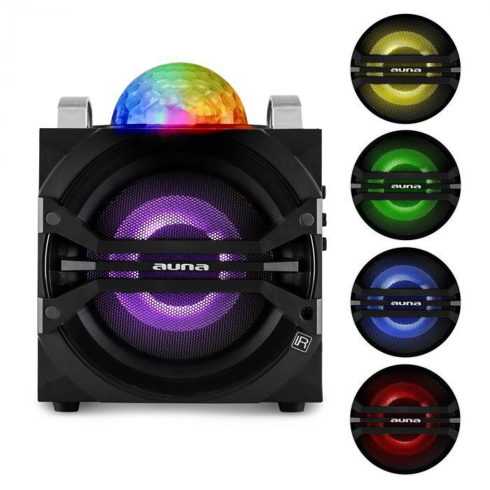 DisGo Box 65 Sistema Audio Per Feste, Batteria, Bluetooth, USB, MP3, VHF, Effetto Luce a LED