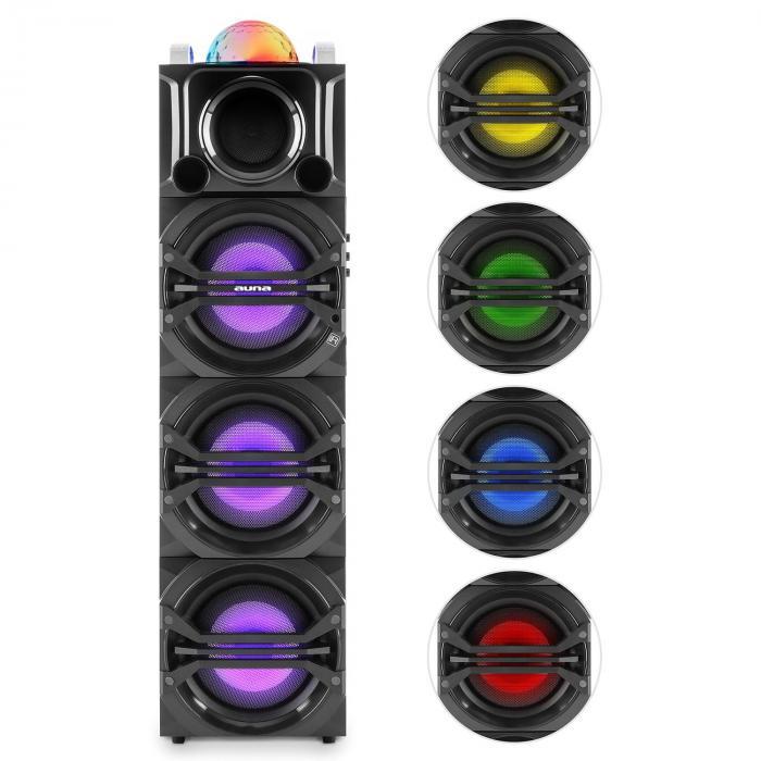 DisGo Box 365 Sistema Audio Per Feste, Batteria, Bluetooth, USB, MP3, VHF, Effetto luce a LED