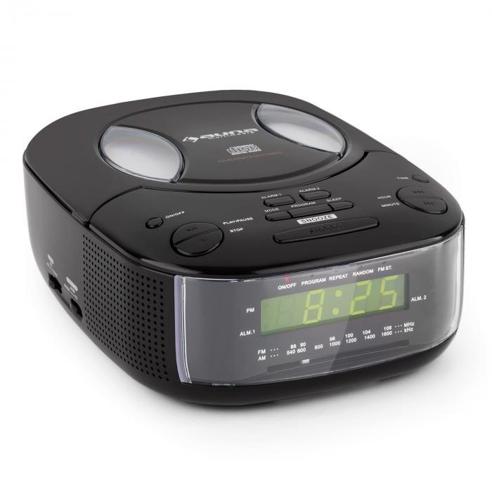 Dreamee BK Radiowecker mit CD-Player UKW/MW AUX Dual-Alarm schwarz