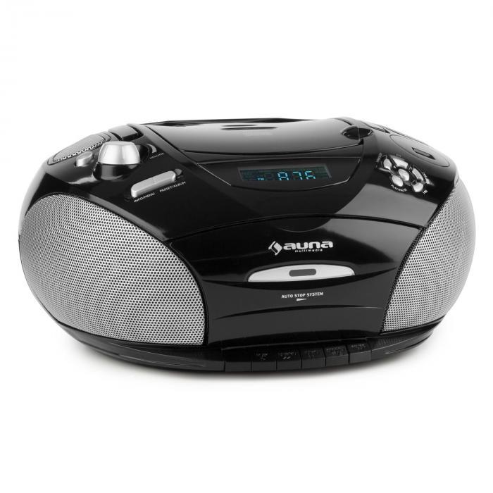 RCD 220 Boombox CD USB Kassettendeck PLL UKW Radio MP3 Schwarz