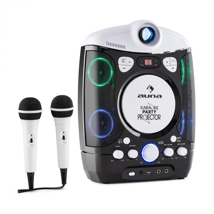 Kara Projectura 2 in 1 Karaoke Machine Beamer with projector LED USB MP3 CD 2 x Mic Black
