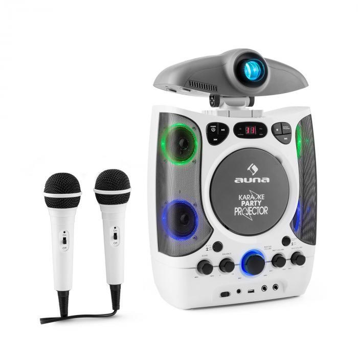 2 in 1 KaraProjectura Karaoke Machine LCD Beamer Projector LED Light Show USB 2 Mics MP3 CD White