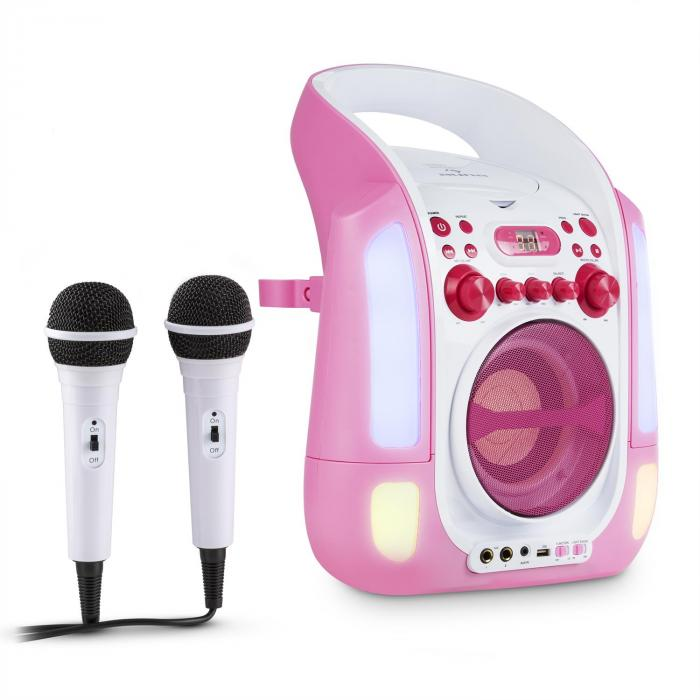 Kara Illumina Karaoke Machine CD USB MP3 LED Light Show 2 x Microphones Portable pink