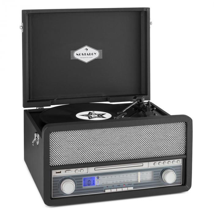 Belle Epoque 1907 Tourne-disque rétro & lecteur de cassette BT MC USB CD AU