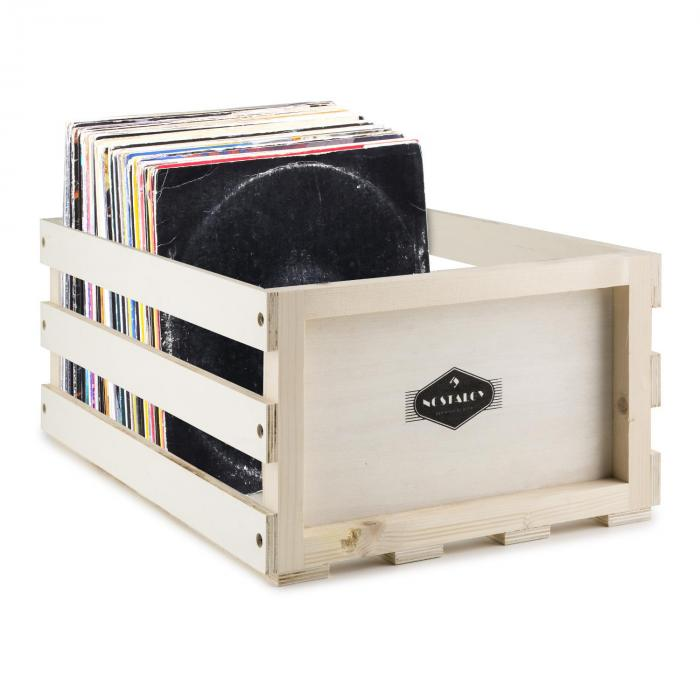 Nostalgie by auna Record Box WD Coffret disques vinyles LP-Box bois multiplex