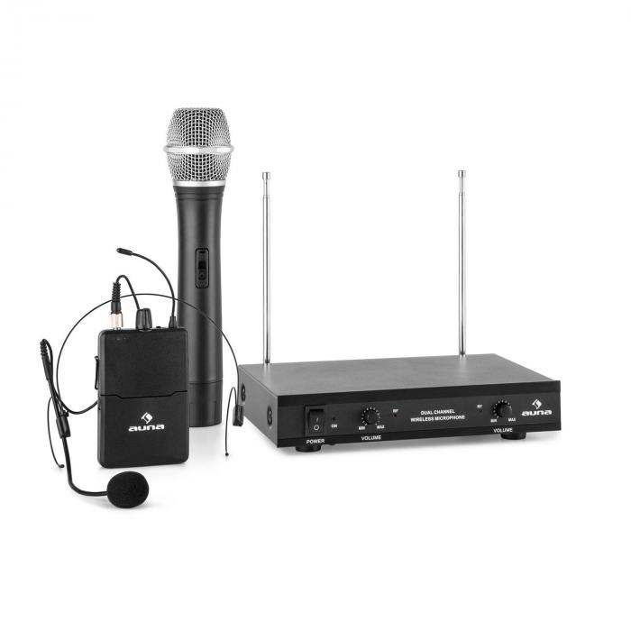 VHF-2-HS 2-Channel VHF Wireless Microphone Set 1 x Headset 1 x Hand Microphone 50m