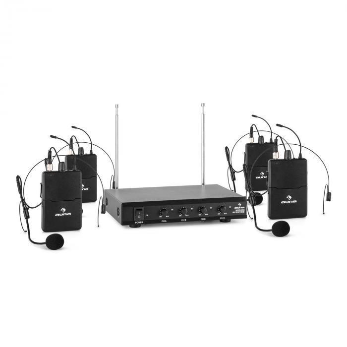 VHF-4-HS 4-Channel VHF Wireless Microphone Set 4 x Headset 50m