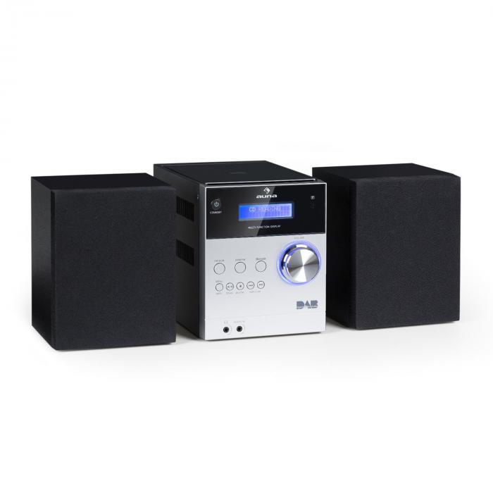 MC-20 DAB Micro-Stereoanlage DAB+ Bluetooth Fernbedienung silber