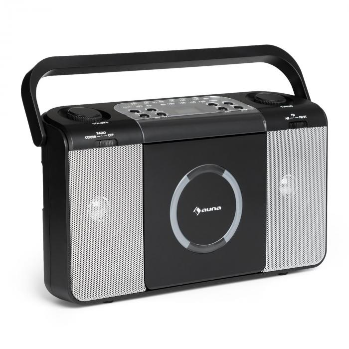 Boomtown USB CD-Player UKW Radio MP3 tragbar Ko...