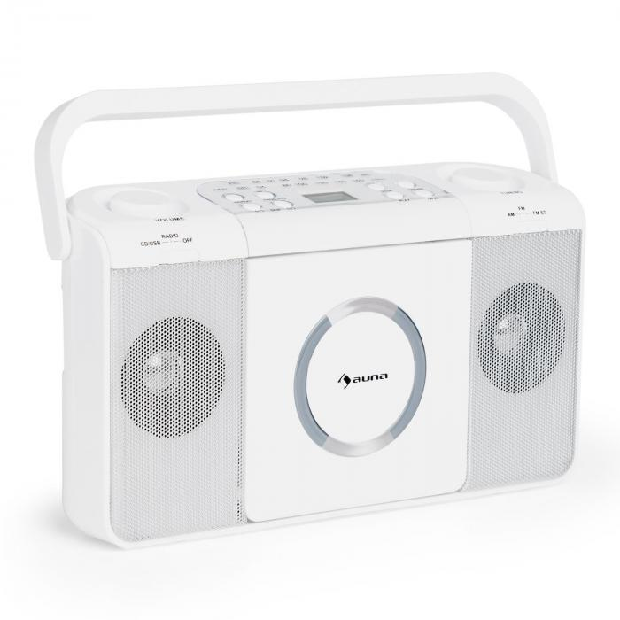 boomtown usb poste radio fm et lecteur cd portable mp3 blanc blanc. Black Bedroom Furniture Sets. Home Design Ideas