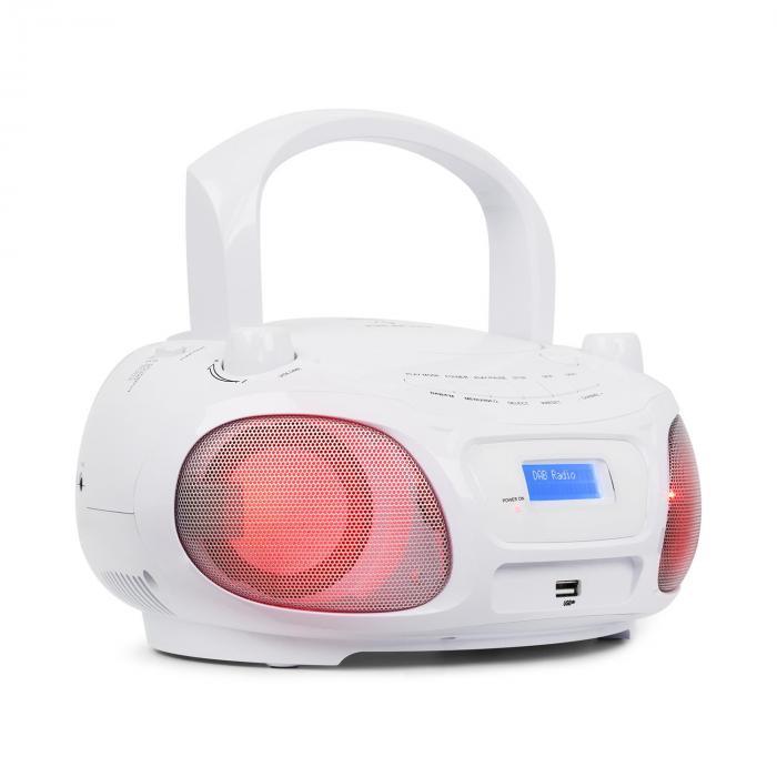 Roadie DAB CD Player DAB / DAB + FM LED Disco Light Effect USB Bluetooth White