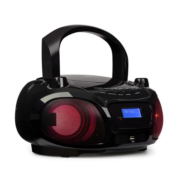roadie dab cd player dab dab fm led disco light effect. Black Bedroom Furniture Sets. Home Design Ideas