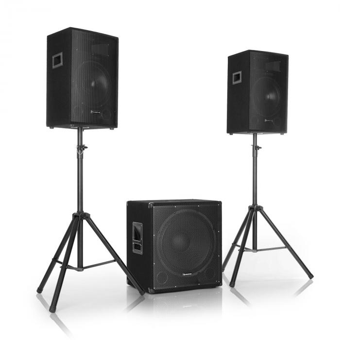 "Cube 1812 2.1 Active PA Set, 1600 Watt, 18"" Subwoofer, 2 x 12"" Speakers"