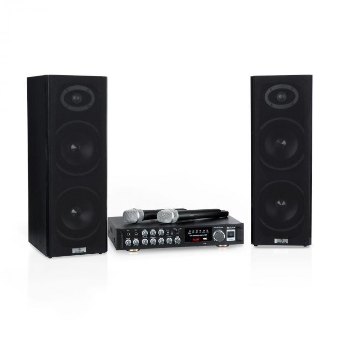 Karaoke Star 4 Karaoke-Set, 2 x 80 W max., BT, USB-Port, 2 x Mikro kabellos