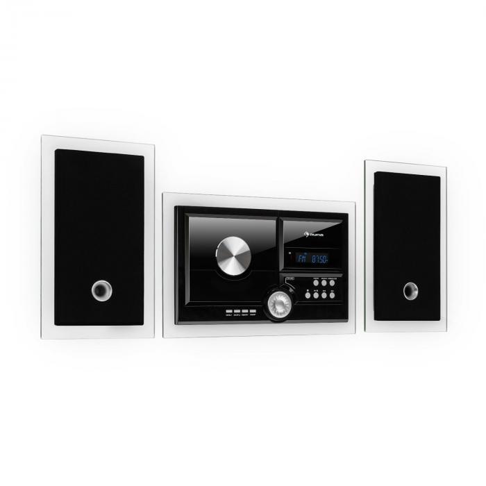 Stereosonic Stereo System, Wandmontage, CD-Player, USB, BT, schwarz