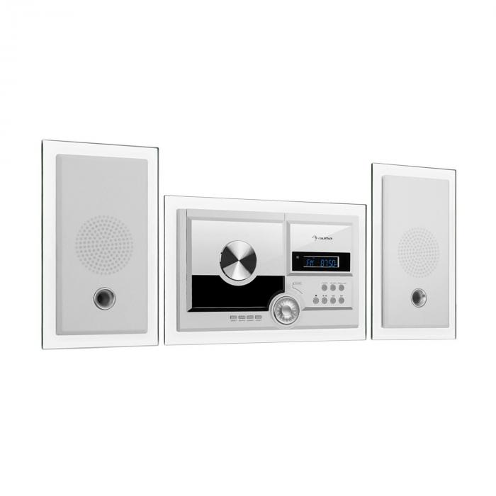 Stereosonic Stereo System, Wall Mounting, CD Player, USB, BT, White
