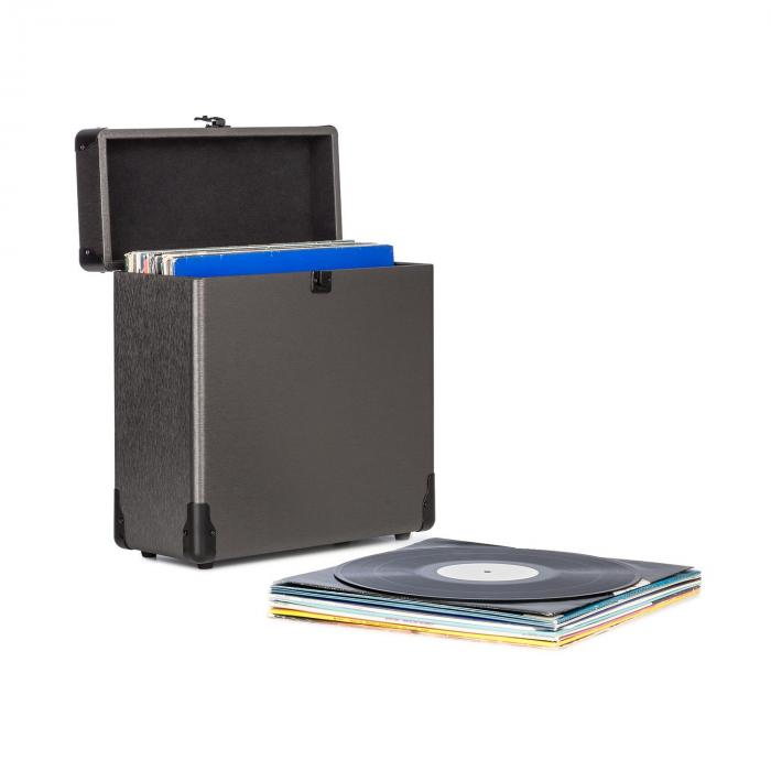 Vinylbox Alu Plattenkoffer für bis zu 30 Schallplatten Klappdeckel schwarz