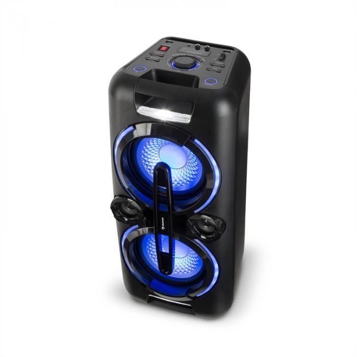Bazzter Party-Audiosystem 2 x 50W RMS Akku BT USB MP3 AUX UKW LED Mikrofon