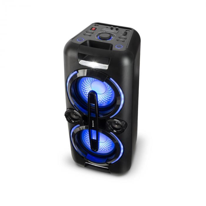 Bazzter Party-Audiosystem 2 x 50W RMS Akku BT USB MP3 AUX UKW LED Mikrofon