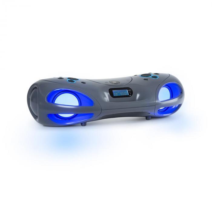 Spacewoofer Boombox CD-Player UKW-Radio Bluetooth Fernbedienung grau