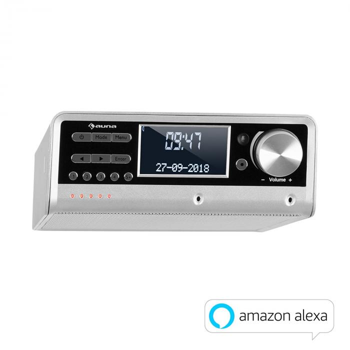 Intelligence DAB+ Kitchen Radio Alexa Voice Control, Spotify, BT, Silver