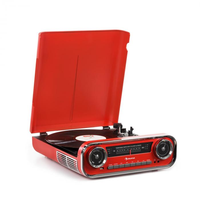 Challenger LP Turntable Bluetooth FM Radio USB Red