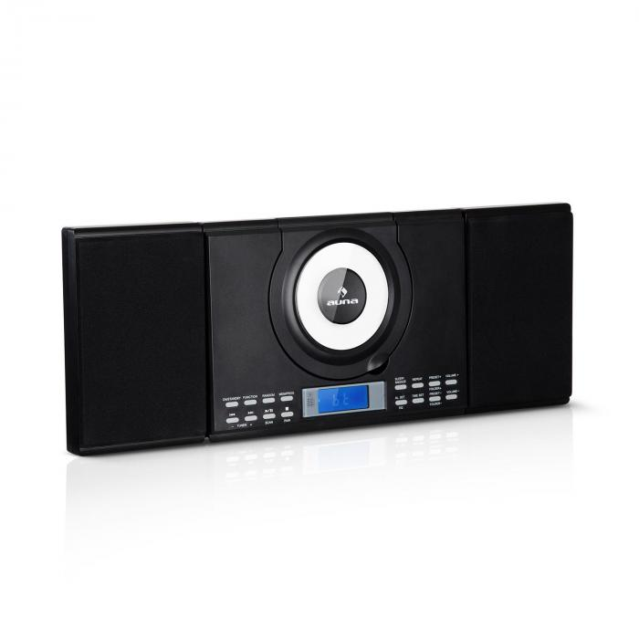 Wallie Microsystem CD-Player Bluetooth USB-Port Fernbedienung schwarz