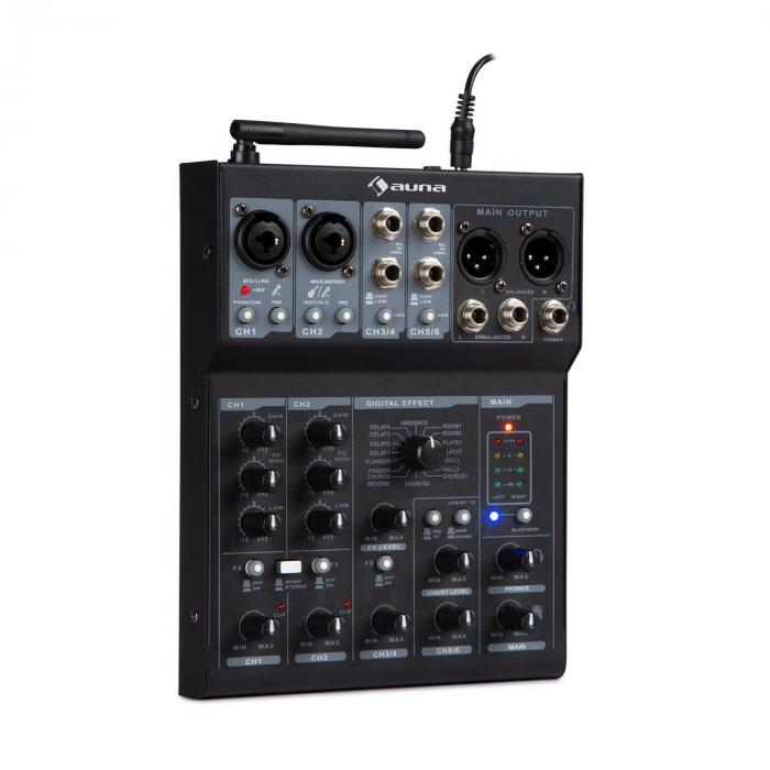 Blackbird Mixer a 6 Canali, BT, USB, MP3, 2 x microfoni XLR, nero