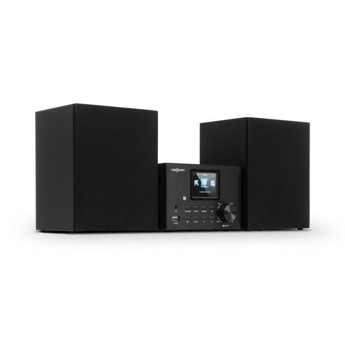 Streamo Stereoanlage mit Internetradio WLAN DAB+ UKW CD-Player BT schwarz