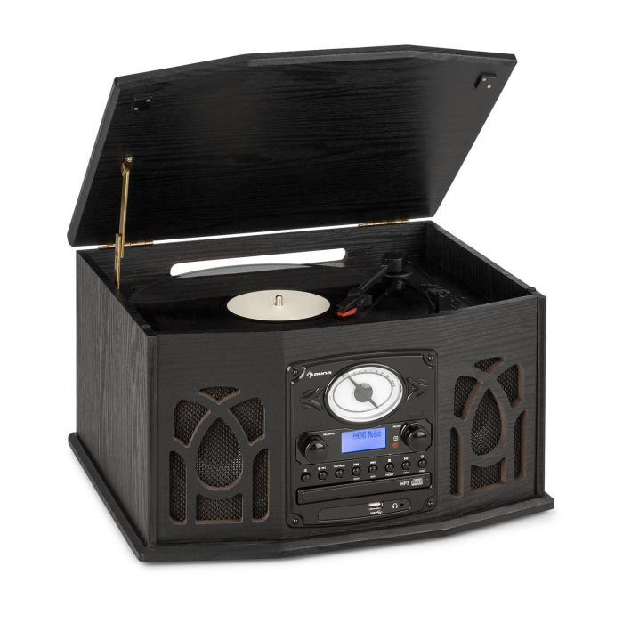 NR-620 DAB Stereo Wooden Turntable DAB + CD Player Black