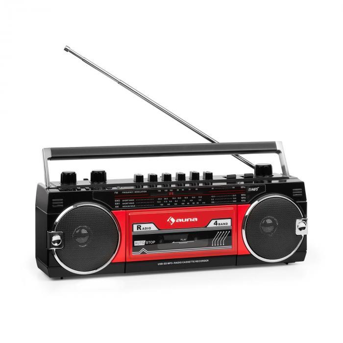 Duke MKII Kassettenrekorder Radio BT USB SD Teleskopantenne schwarz rot