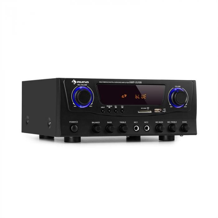 Amp-2 BT Hifi-Verstärker 2x50 W BT USB SD 2 x Mikro FM-Radiotuner schwarz