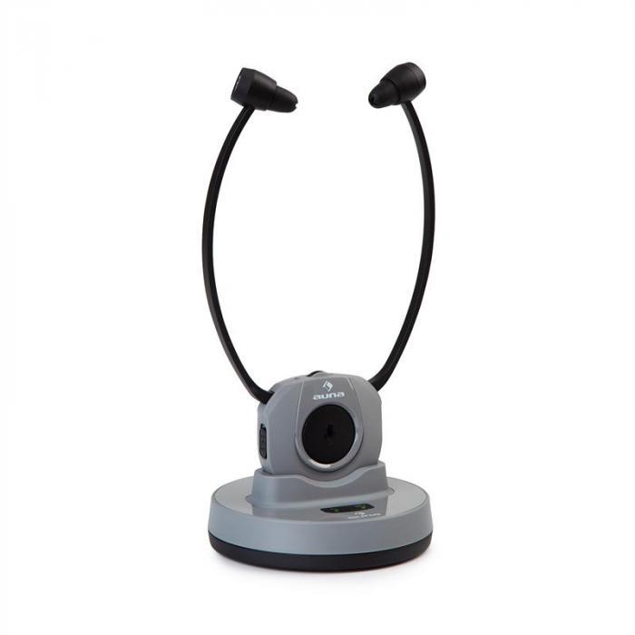 Stereoskop Funk-Kinnkopfhörer InEar 20m 2,4GHz TV/HiFi/CD/MP3 Akku grau