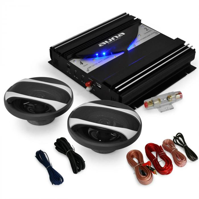 car hifi set black line 200 ampli enceintes auto 1400w. Black Bedroom Furniture Sets. Home Design Ideas