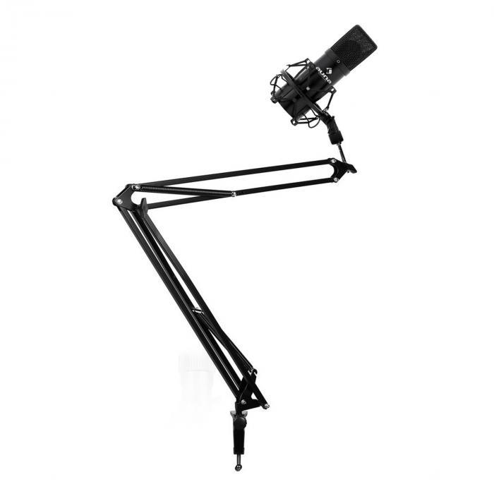 Studio Mikrofonset mit USB Mikrofon in schwarz & Mikrofonarm mit Tischhalterung