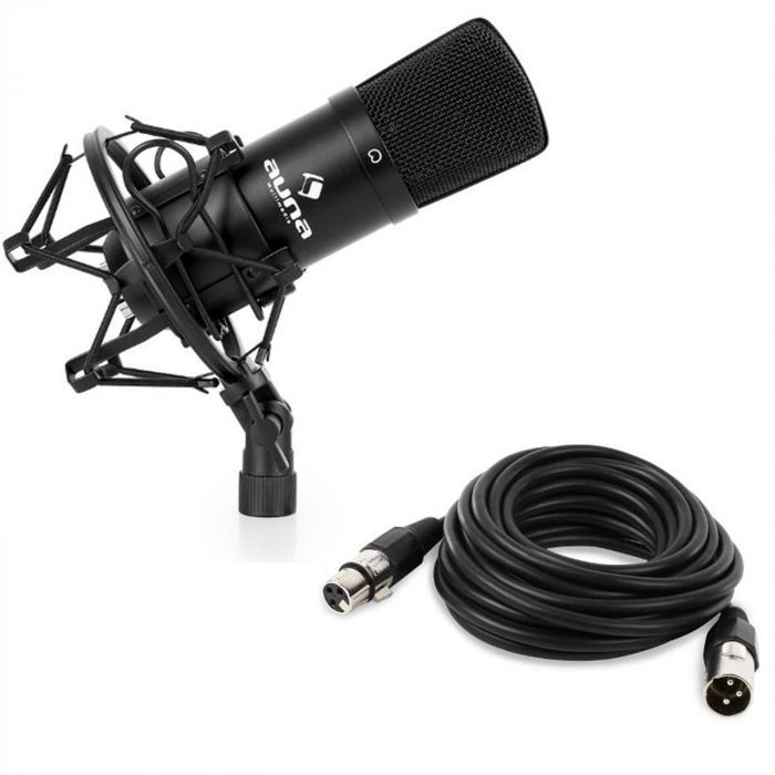 CM001B Studio-Mikrofon schwarz Kondensator mit 6m XLR Kabel
