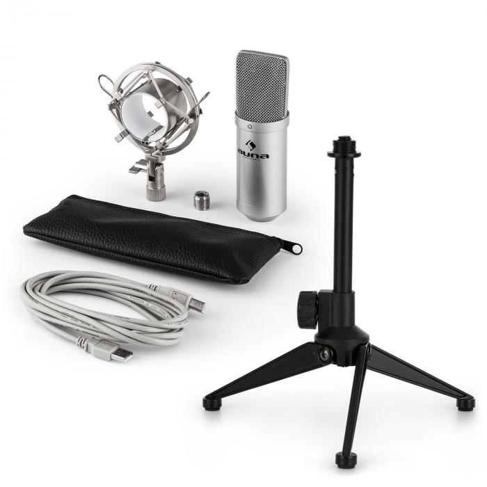 MIC-900S USB Set Microfono V1 | Condensatore-Microfono argento | Stativo