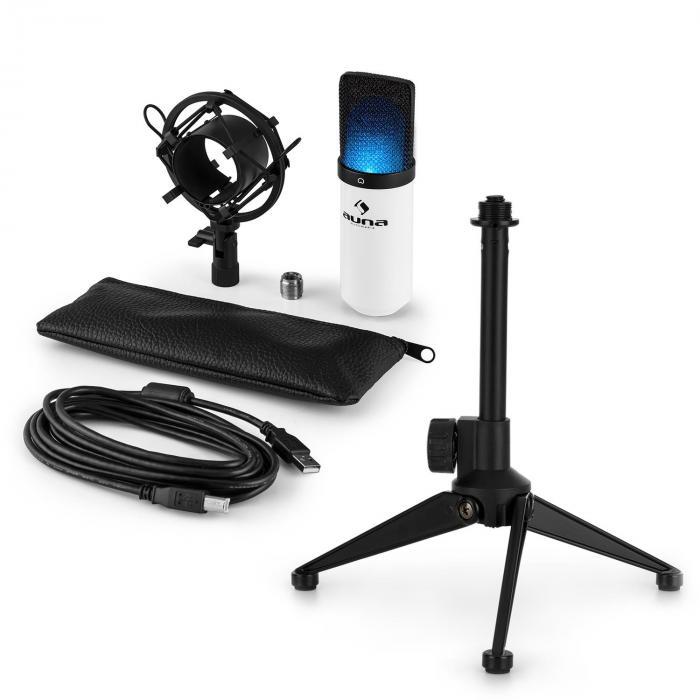 MIC-900WH-LED USB Mikrofonset V1 | weißes Kondensator-Mikrofon Tischstativ