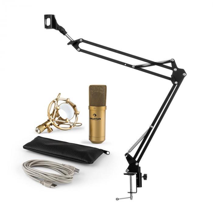 MIC-900G USB set microphone V3 condensateur + perchette cardioïde LED or