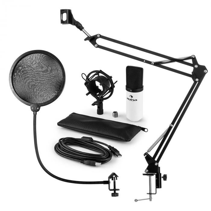 MIC-900BL Set Microfoni USB a condensatore V4 Anti-Pop Braccetto Bianco