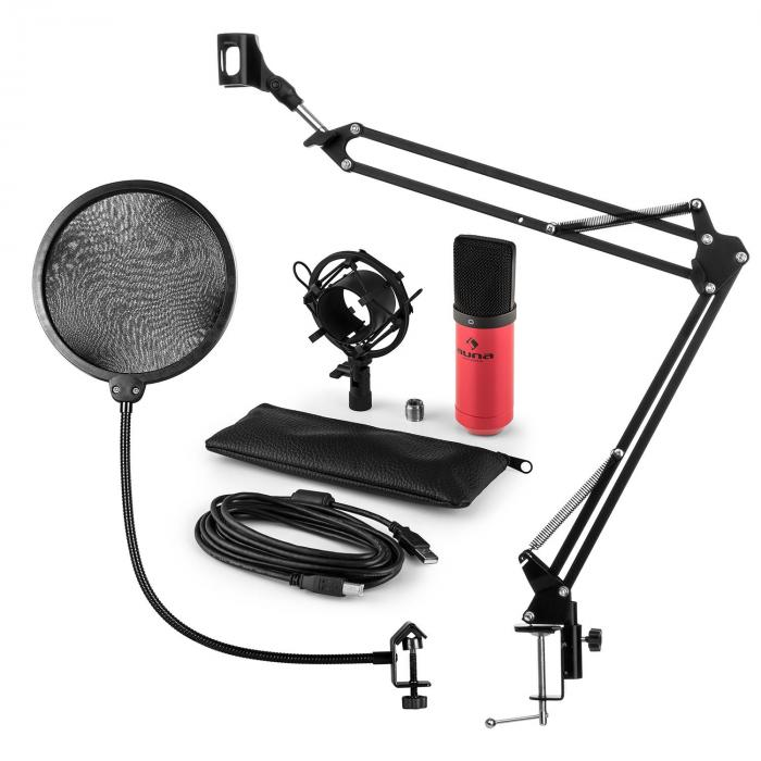 MIC-900RD USB Microphone Set V4 Condenser Design Pop-Protection Microphone Arm red