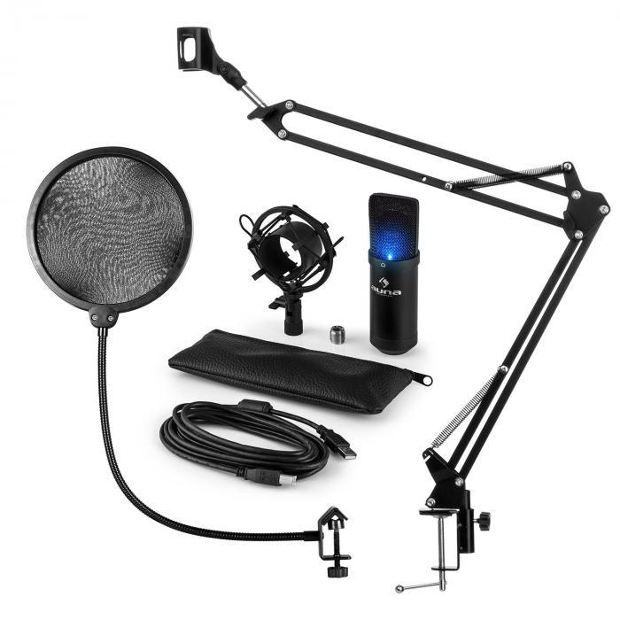 MIC-900B-LED Juego de micrófono V4 USB Micrófono de condensador Protector antipop Brazo para micrófono negro LED