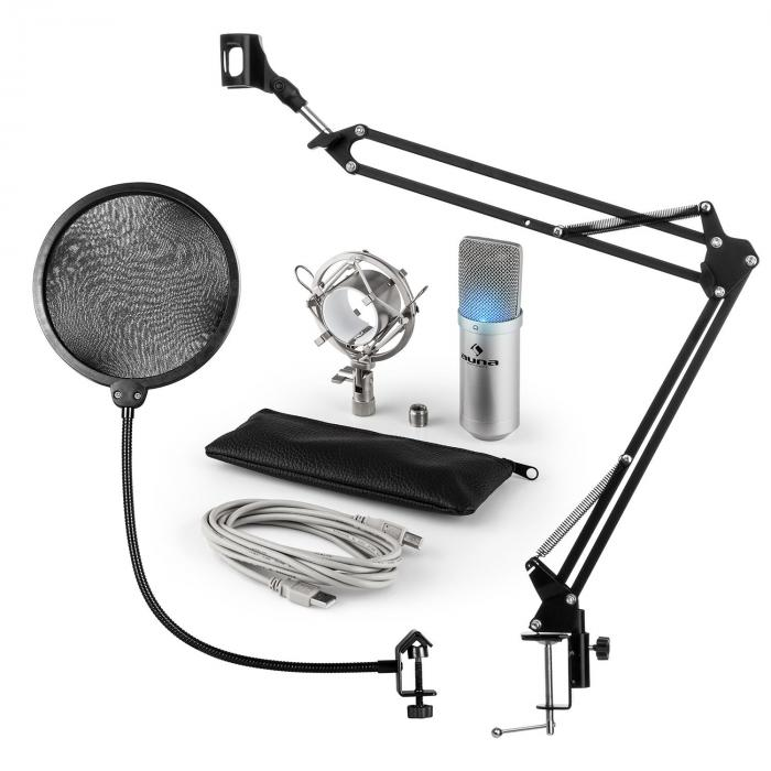 MIC-900S-LED USB Mikrofonset V4 Kondensatormikro Pop-Schutz Arm LED silber