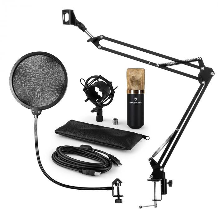MIC-900BG USB Microphone Set V4 Condenser Microphone Pop-Protection Microphone arm gold