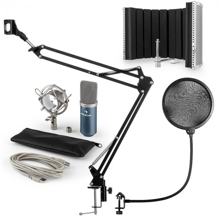 MIC-900BL USB kit micro V5 condensateur filtres anti pop-bruit perche bleu