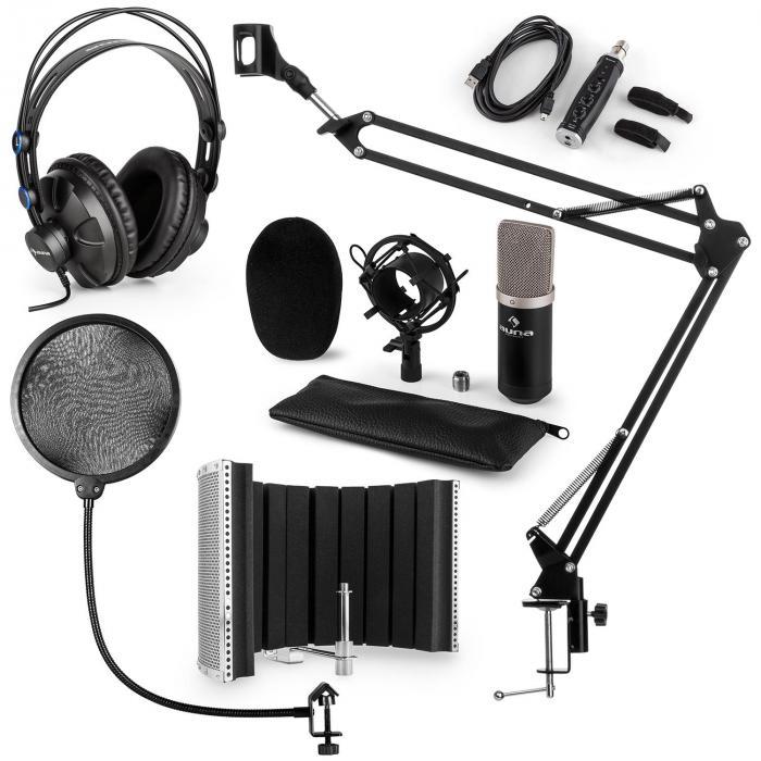 CM003 set microphone V5 micro condensateur convertisseur USB casque - noir