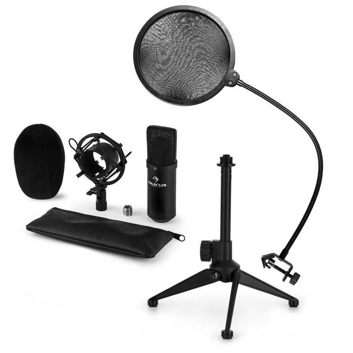 CM001B Mikrofon-Set V2 Kondensatormikro Mikrofonstativ POP-Schutz schwarz